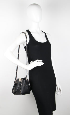 Trapeze Tote Mini Structured Smooth, Black