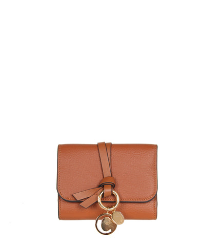 Alphabet Tri Fold Mini Wallet, Tan