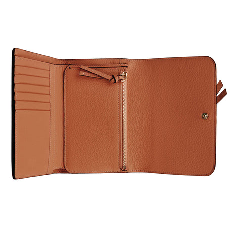 Alphabet Tri Fold Wallet, Tan