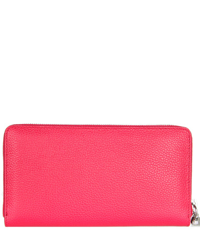 Long Zip Wallet Grain Leather, Paris Pink/Silver