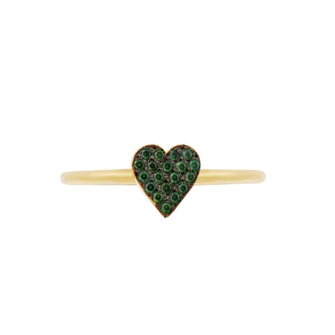 Love Heart Ring, Gold/Green