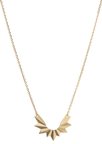 Wing Necklace, Matte Gold
