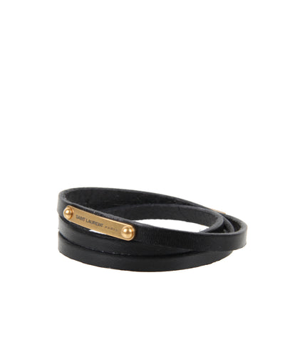 YSL 3x Thin Wrap Vegetal Bracelet, Black/Bronze