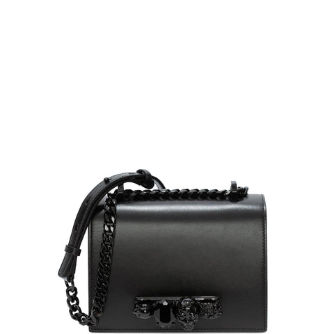 Jewelled Knuckle Satchel Small Smooth, Black/Black