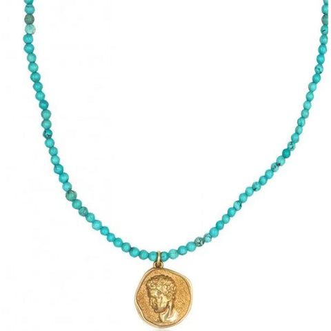 Hermis Turquoise Necklace, Gold