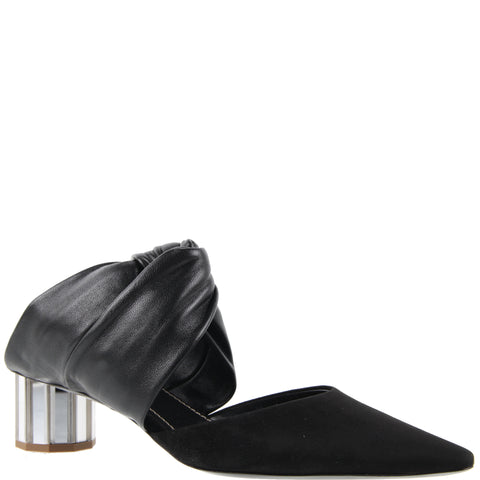 Twisted Block Mule Mirror 40 Nappa/Suede, Black