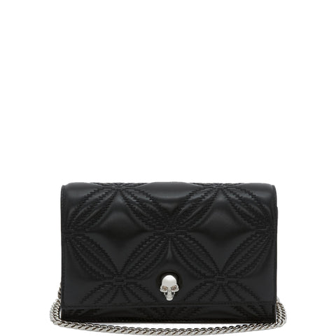 Skull Mini Bag Floral Quilted Lamb, Black