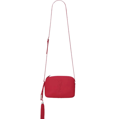 Lou Grained Embossed Camera Bag, Red/Nickle
