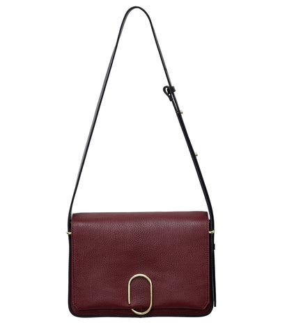 Alix Flap Shoulder Bag, Burgundy/Black