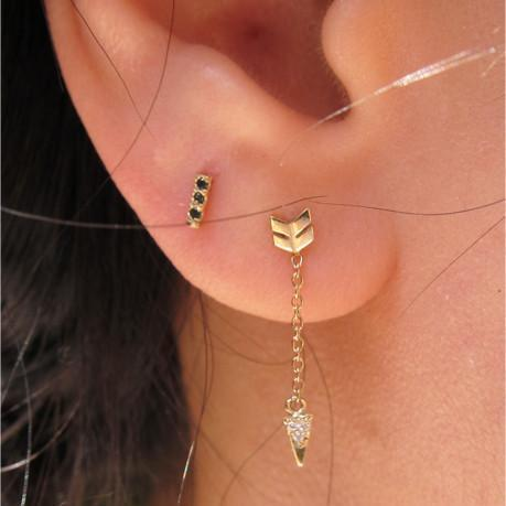 Equilibrium Stud Black Diamonds(Single), Yellow Gold