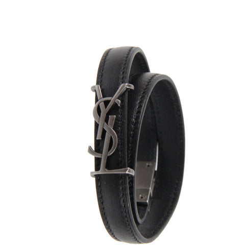 YSL 2x Wrap Opyum Bracelet, Black/Nickle