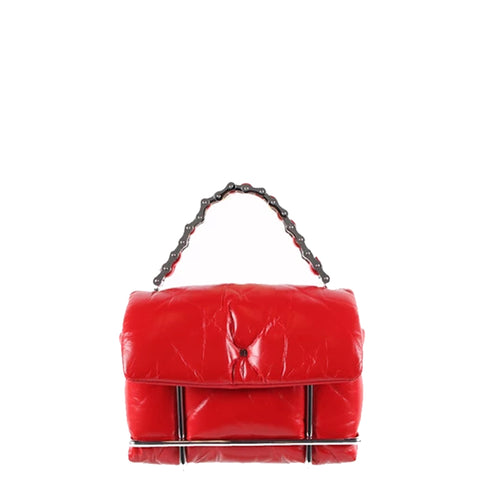 Halo Quilted Crossbody, Red/Silver