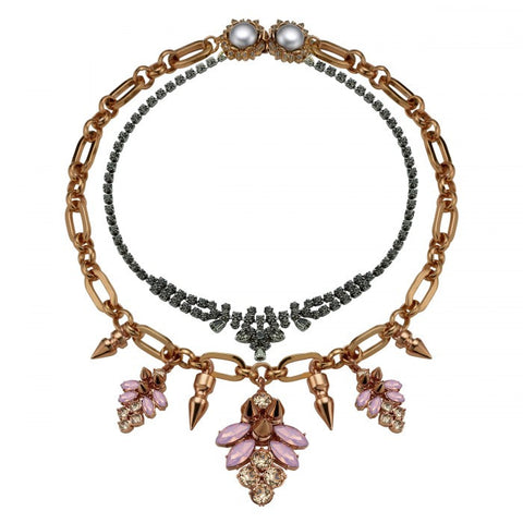 Layered Necklace with Crystal Clusters & Spikes, Rose Gold