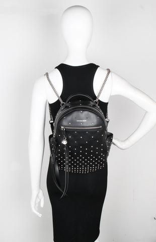 Small Chain Backpack, Studded Black