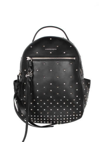 Small Chain Studded Backpack, Black/Silver