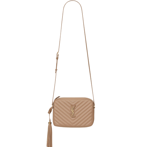 Lou Chevron Metal Camera Bag, Beige/Bronze