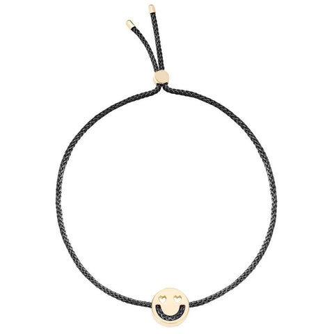 Smitten Yellow Gold w/ Black Cord Bracelet