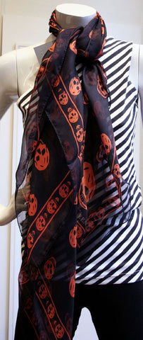 Classic Skull Scarf Silk Chiffon, Black/Orange
