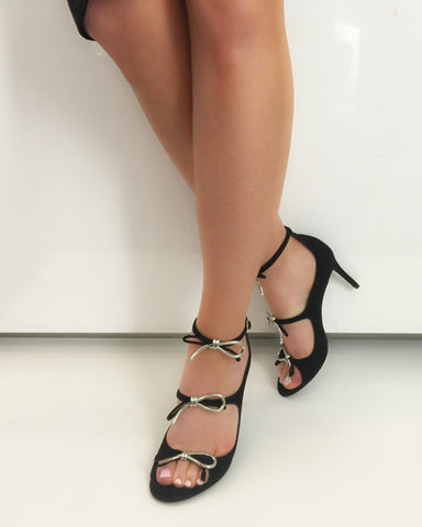 Metal Bow Heels, Black