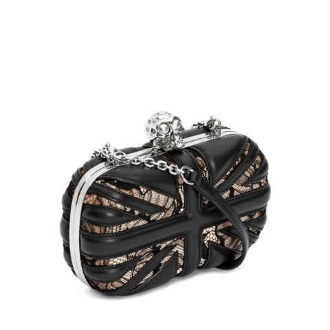 Lace Brit Skull Box Clutch w/ Chain, Black/Teint