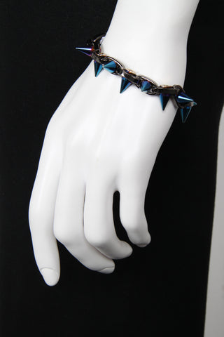 Cosmic Warrior Double Row Spike Bracelet, Hematite