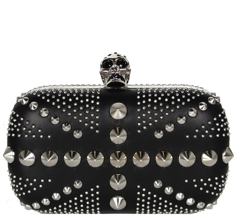 Brittania Punk Box Clutch, Black