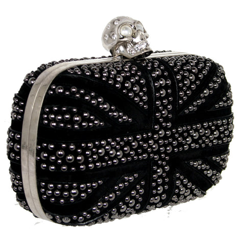 Brittania Studded Box Clutch, Black