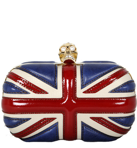 Brittania Box Clutch, Red/Navy