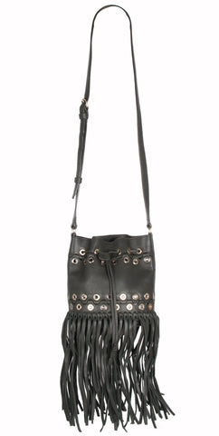 L'Oeillets Fringe Bucket Bag, Olive