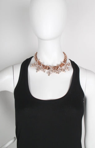 Crystal Blossom Necklace, Rose Gold
