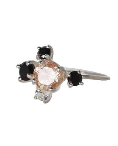 Rutilated Quartz Cluster Ring, Silver