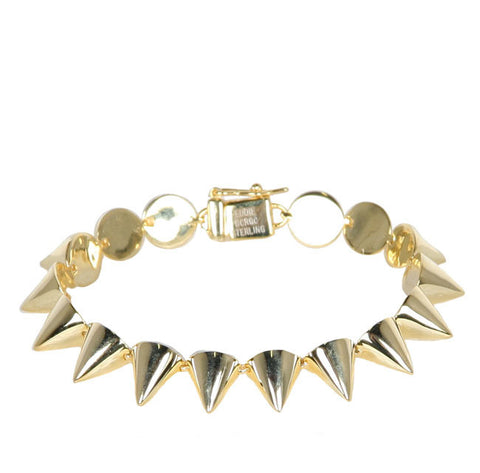 Small Stirling silver Cone Bracelet, Gold