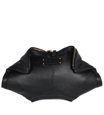 De Manta Textured Leather Clutch, Black/Gold