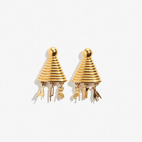 Sottsass Sphinx Earrings (pair), Gold