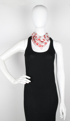 Skull Neck Scarf Satin, Red/Ivory