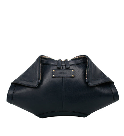 De Manta Leather Clutch Navy