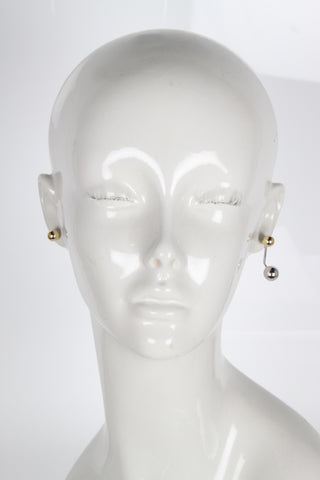 Stud Earring w/floating sphere, Rodhium/Gold