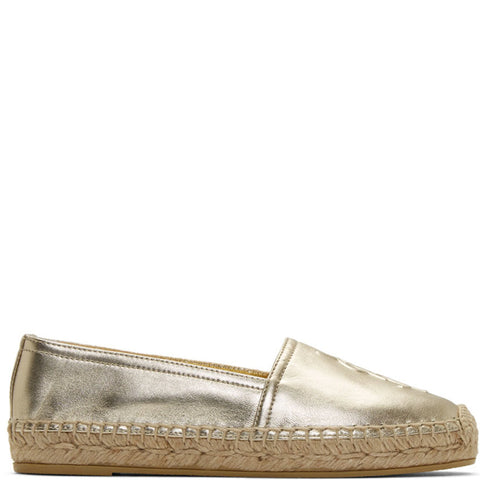 Monogram Espadrille Metal Leather, Pale Gold
