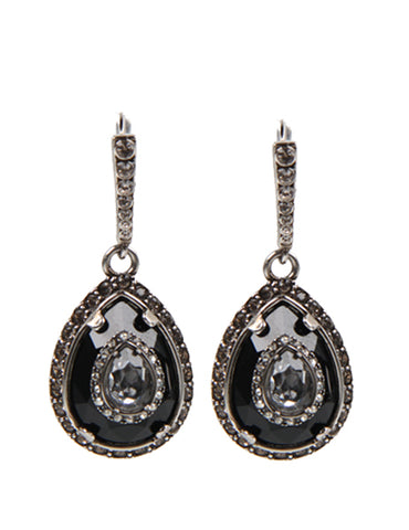 AMQ Small Teardrop Earrings, Black