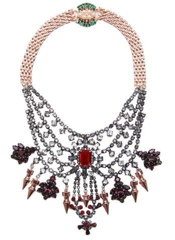 Tiered Crystal Necklace With Spikes