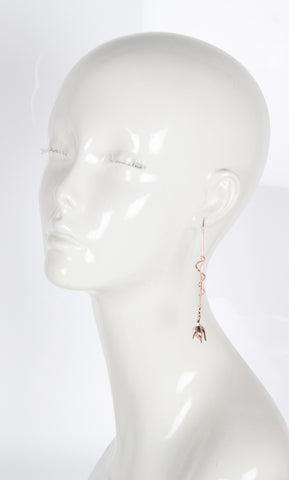 Pave Bud Drop Earrings, Rose Gold