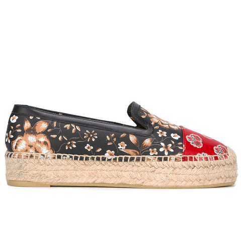 Patchwork Poppy Print Leather Espadrille