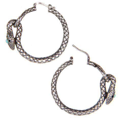 Serpent Hoop Earrings, Turquoise