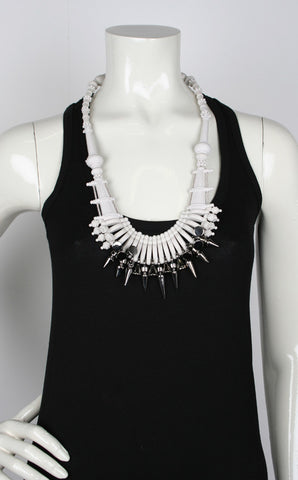 Ethnic Necklace, White
