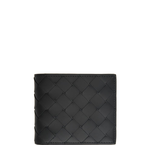 Bi-Fold Wallet with Coin Compartment Intrecciato, Black