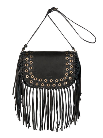 L'Oeillets Fringe Cross Body Bag, Black