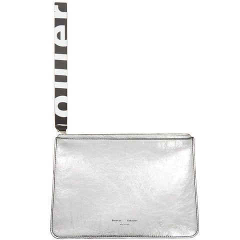 PS Medium Pouch, Metallic Paper, Silver