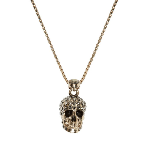 Pave Skull Necklace, Gold