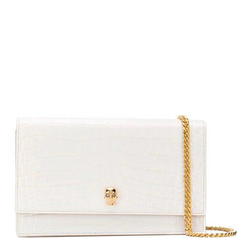 Skull Medium Bag Croc, Deep Ivory/Gold