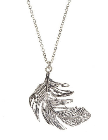 Feather Pendant, Silver